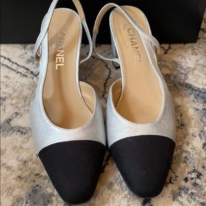 AUTHENTIC CHANEL silver & black sling backs